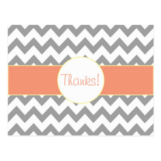 Gray and Salmon Chevron Striped Monogram Thank You Postcard