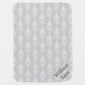 Gray and Seafoam Arrows Monogram Baby Blanket