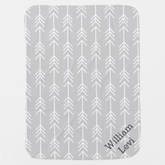 Gray and Seafoam Arrows Monogram Baby Blanket