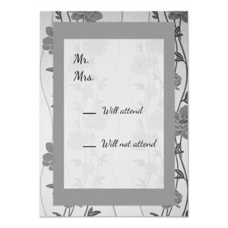 Gray and Silver Floral RSVP card and Envelope