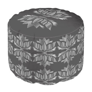 Gray and Silver Lotus Flower design Pouf