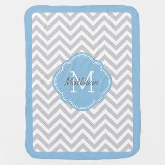Gray and Sky Blue Chevron Monogram Baby Blanket