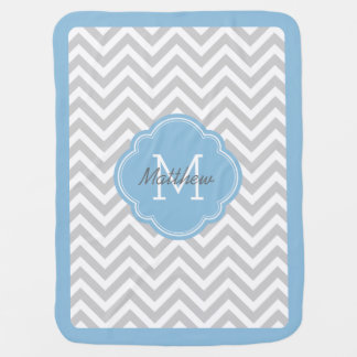 Gray and Sky Blue Chevron Monogram Buggy Blanket
