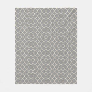 Gray and Tan Beige Quatrefoil Fleece Blanket
