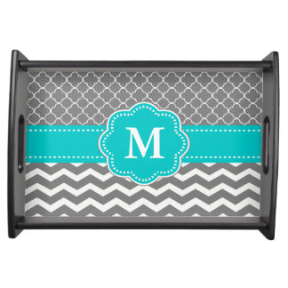 Gray and Teal Chevron Quatrefoil Personalized Tray