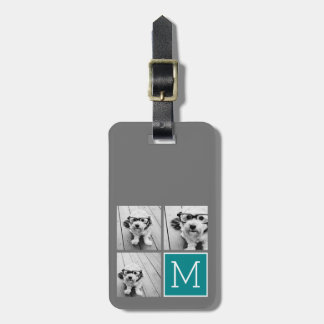 Gray and Teal Instagram Photo Collage Monogram Luggage Tag