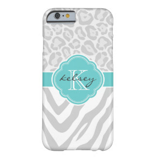 Gray and Turquoise Animal Print Custom Monogram Barely There iPhone 6 Case