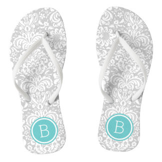 Gray and Turquoise Floral Damask Monogram Thongs
