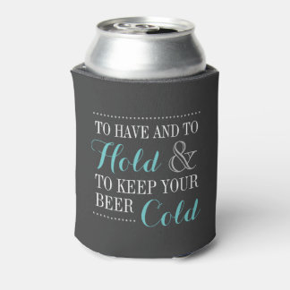 Gray and Turquoise Modern Wedding Monogram Can Cooler