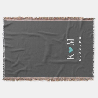 Gray and Turquoise Modern Wedding Monogram Throw Blanket