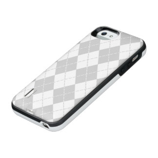 Gray and White Argyle iPhone SE/5/5s Battery Case
