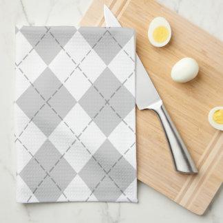 Gray and White Argyle Tea Towel