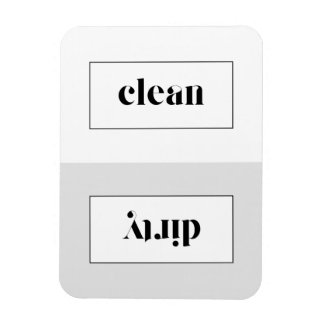 Gray and White Bold Stencil Typography Dishwasher Magnet