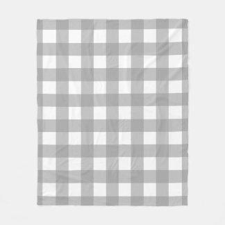 Gray and White Buffalo Check Fleece Blanket