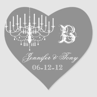 Gray and White Chandelier Custom Heart Stickers