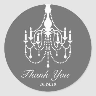 Gray and White Chandelier Thank You Round Stickers