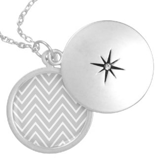 Gray and White Chevron Pattern 2 Personalized Necklace
