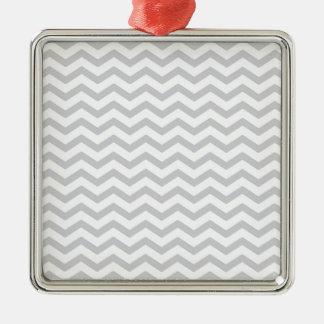 Gray And White Chevron Print Christmas Tree Ornaments