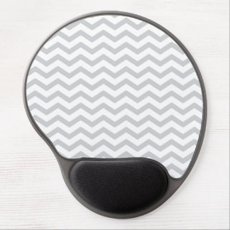 Gray And White Chevron Print Gel Mouse Mats