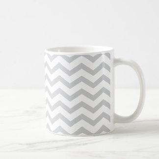 Gray And White Chevron Print Mugs
