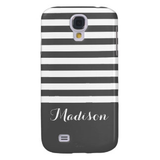 Gray and White Classic Stripes Monogram Galaxy S4 Cover