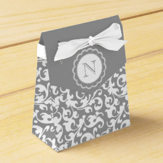 Gray and White Damask Swirls Monogram Wedding Favour Boxes
