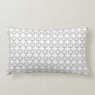 Gray and white decorative geometric pattern lumbar cushion