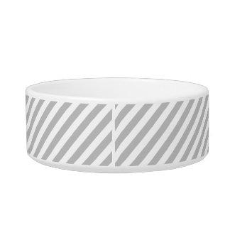 Gray and White Diagonal Stripes Pattern Bowl