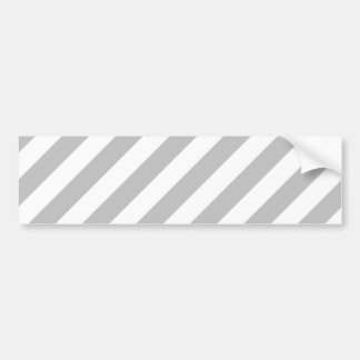 Gray and White Diagonal Stripes Pattern Bumper Sticker