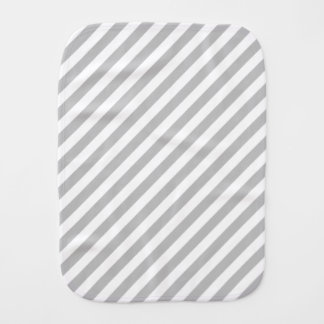 Gray and White Diagonal Stripes Pattern Burp Cloth