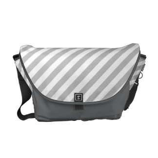 Gray and White Diagonal Stripes Pattern Courier Bag