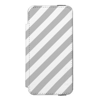 Gray and White Diagonal Stripes Pattern Incipio Watson™ iPhone 5 Wallet Case