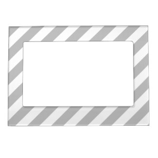 Gray and White Diagonal Stripes Pattern Magnetic Picture Frame