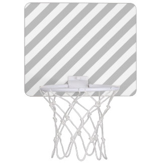 Gray and White Diagonal Stripes Pattern Mini Basketball Hoop