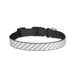 Gray and White Diagonal Stripes Pattern Pet Collar