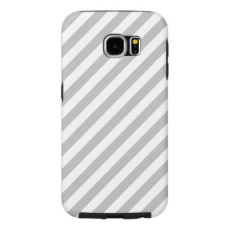 Gray and White Diagonal Stripes Pattern Samsung Galaxy S6 Cases