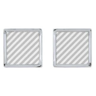 Gray and White Diagonal Stripes Pattern Silver Finish Cufflinks