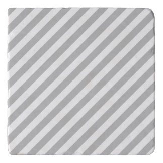Gray and White Diagonal Stripes Pattern Trivet