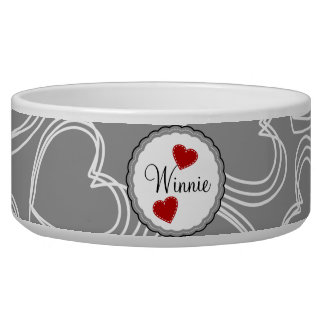 Gray and White Dots and Hearts Dog Bowl