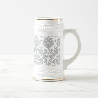 Gray and White Elegant Damask Pattern Beer Steins