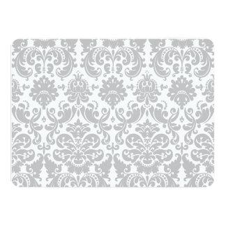 Gray and White Elegant Damask Pattern 14 Cm X 19 Cm Invitation Card