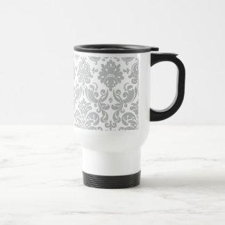 Gray and White Elegant Damask Pattern Stainless Steel Travel Mug