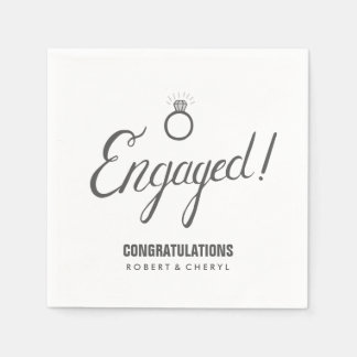 Gray and White Engagement Party Napkins Disposable Napkin
