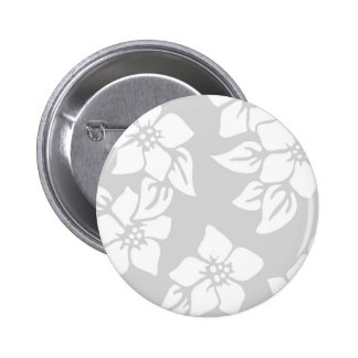 Gray and White Floral 6 Cm Round Badge