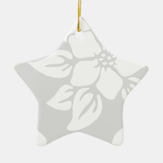 Gray and White Floral Ceramic Star Decoration