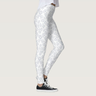 Gray and White Floral Damask Leggings