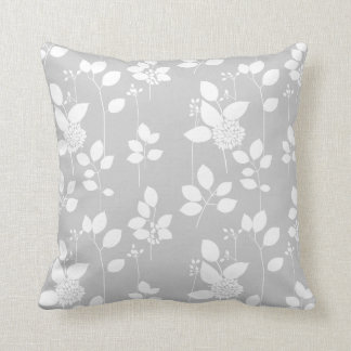 Gray and White Floral Pattern Throw Cushion