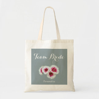 Gray and White Floral Photo Team Bride Tote Bag