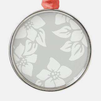Gray and White Floral Silver-Colored Round Decoration