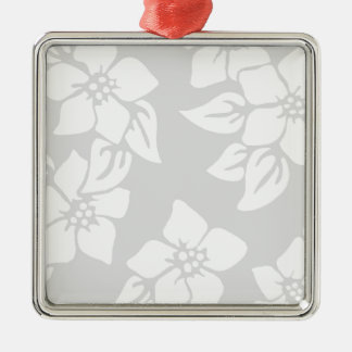 Gray and White Floral Silver-Colored Square Decoration